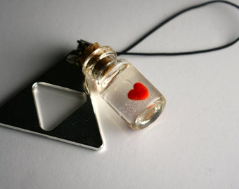Legend of Zelda Heart in a bottle with a triforce pendant cellphone charm
