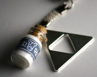 Legend of Zelda Lon Lon Milk and Triforce pendant Keychain