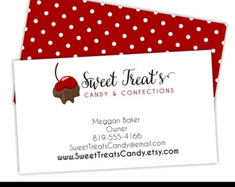 Premade Business Card, Candy Business Card, Bakery Business Card, Custom Business Cards