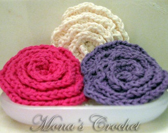 Hand Crocheted Cotton Ecru, Purple and Hot Pink Face Scrubbies | Facial Scrubbers | Facial Pads | Makeup Remover Pads - Set of 3