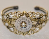 Remington (Silver Finish) 12 Gauge Shotgun Shell Bullet Bracelet Filigree 11 Swarovski Crystals Custom Made