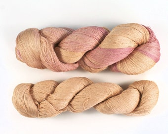 Silk lace yarn - 100gr/~1200m - Recycled & Hand-dyed - Peaches