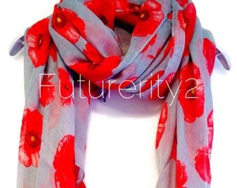 Red Poppy Grey Spring Scarf / Summer Scarf / Autumn Scarf / Gift For Her / Womens Scarves / Fashion Accessories