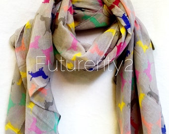 Light Grey Multicolour Dachshunds Dogs Spring Summer Scarf / Autumn Scarf / Gift For Her / Fashion Accessories