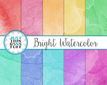 "Watercolor Digital Paper: ""Bright Watercolor"" Texture, Watercolor Background, Watercolor Clipart Scrapbooking Cards Invitation Party"