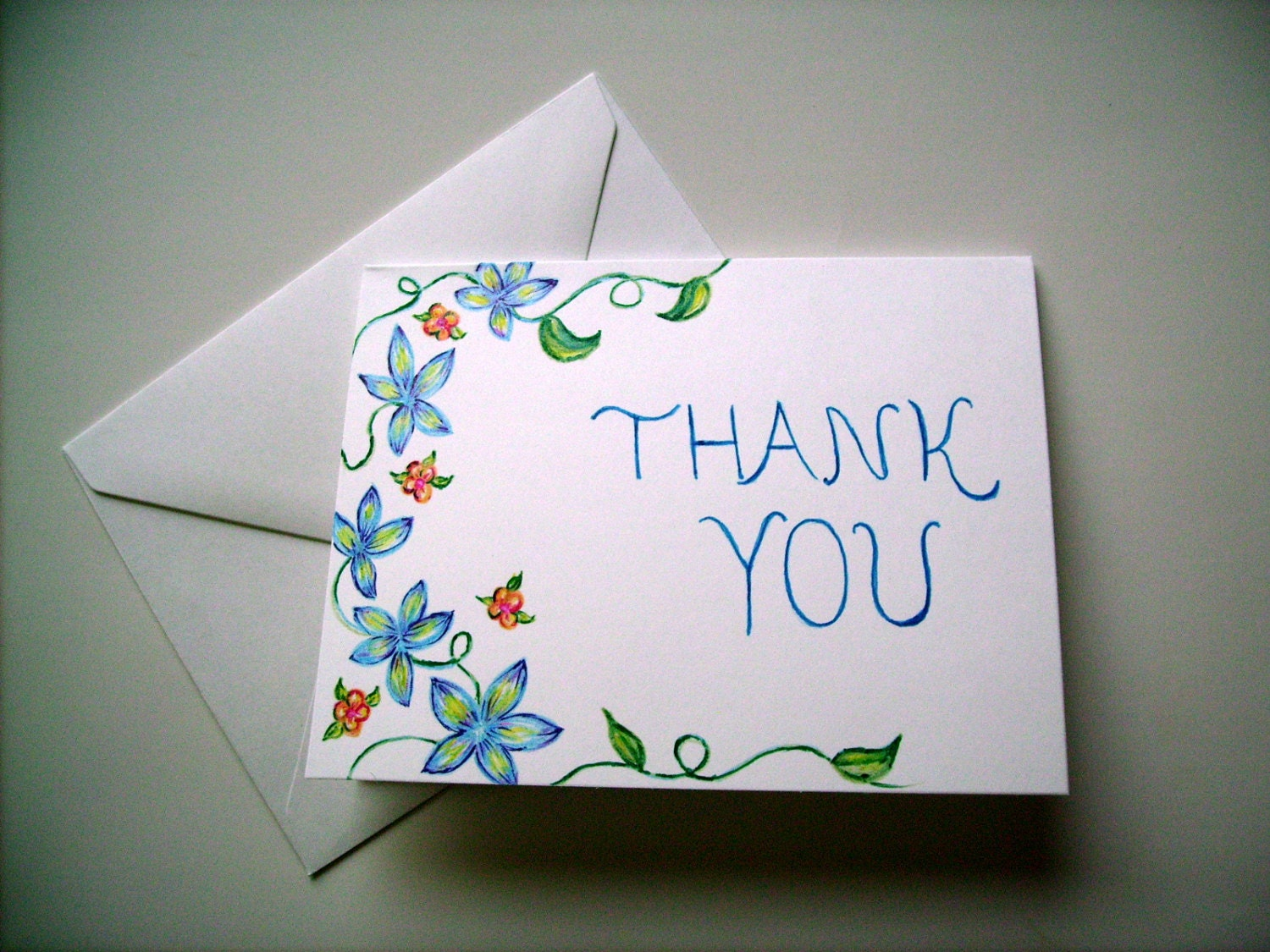 hand drawn thank you card blank card greeting card floral