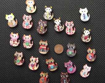 10 Mixed Wooden Coloured Cat Buttons 30x23 mm Crafts Sewing Embellishments Cards