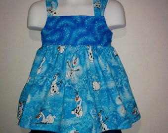 Girls Toddlers Olaf Frozen Boutique Birthday Party Short and Tank Top Shirt Set Princess Park Outfit! Sizes 2 ,3, 4, 5, 6, 7, 8