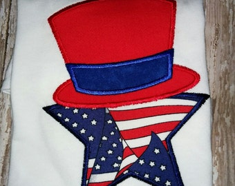 Girls Boys Girl Boy 4th Fourth of July Patriotic Star Uncle Sam Top Hat Flag Boutique Applique Embroidered Shirt! 2 3 4 5 6 7 8