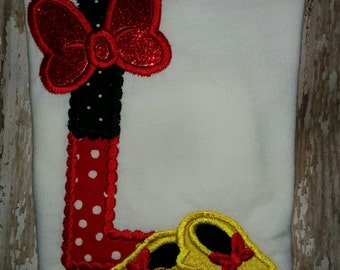 Girls Girly Mouse Letter Monogram Shirt Embroidered Applique Boutique T-Shirt! 2 3 4 5 6 7 8 RED Yellow and Black Personalized