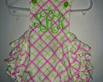 Girls Baby Infant Summer Ruffle Romper Sunsuit Sun Suit Monogram Monogrammed Personalized Set Outfit Pink Green Plaid Embroidered! 3 6