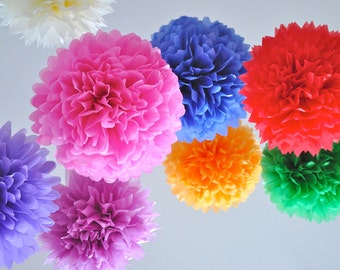 40pcs Mixed Sizes Tissue Paper Pom Poms - Colorful DIY Wedding Decor Baby Shower Birthday Party Decoration