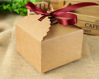 70 Small Kraft Paper Boxes - DIY Craft Baking Jewelry Accessories Packaging / Wedding Party Gift Boxes