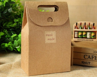 30 Kraft Paper Bags with Handle - small - Gifts Packaging - for Handmade Soap Scarf Bottles Food Cookies / Party Wedding Favors