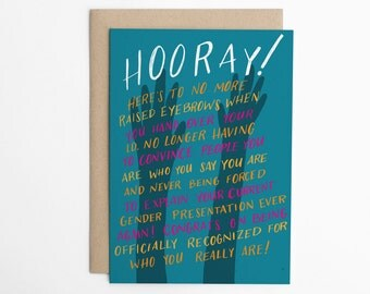 LGBTQ+ card, Gender Change Congratulations Card, mtf Card, ftm Card, lgbt Card, LGBTQ Congratulations, Cards for Allies/C-259