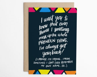 LGBTQ Card, Gender Change Card, mtf Card, ftm Card, lgbt encouragement Card, LGBTQ support card, Cards for Allies/C-263