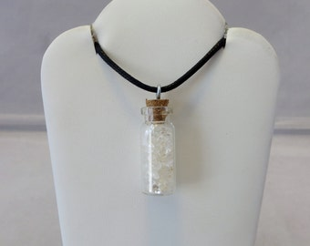 Wiccan Basic Fertility Spell Clear Quartz Gemstone Chip Pendant