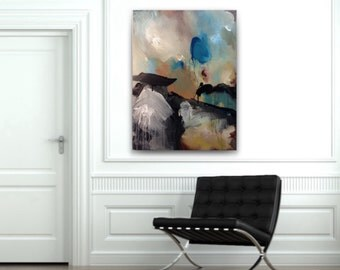 30x40 abstract painting,teal black gray beige,large abstract,modern painting,original abstract,acrylic canvas,big wall art,large abstract