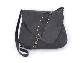 Nubuck leather large shoulder bag