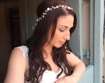 Bridal headband, bridal browband, floral headpiece, hairvine, floral and diamante hairvine