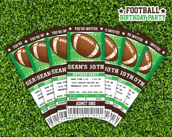 Football ticket invitation printable instant download for Sports ticket template free download