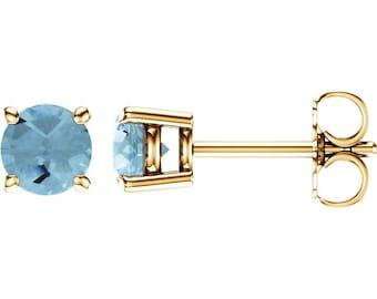 14k Aquamarine Stud Earrings, Handmade gemstone of the seas Earrings, March Birthstone, 2.5mm 4mm 5mm