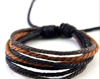 Vegan Bracelet Made From Hemp Rope, Black, Brown and Copper Surfer Braclet,  HB-4