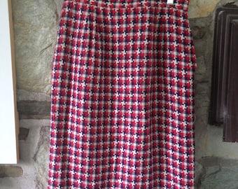 Tweed skirt- white, navy, red Vintage Pencil Skirt
