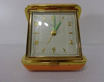 1970s Travel Alarm Clock by Florn, Wind Up Travel Clock Made in West Germany, Working Condition Clock