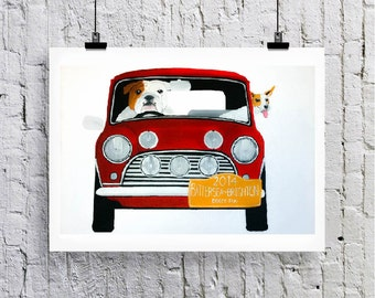 British Bulldog and Jack Russell driving Mini cooper.  'Doggy Run' Greetings card