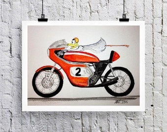 Honda Motorcycle Seagull  Greetings card/Art print