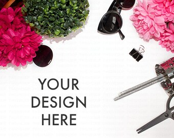 Sassy Styled Desktop Stock Photo | Red Pink | White Desk | Product Mockup | Web Design Graphic | Flower Background | Stock Photography