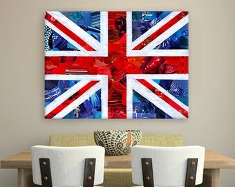 British flag, British decor wall art, Wedding gift, Union Jack flag, England art, Mixed Media collage art, unique Mother's day gift ideas