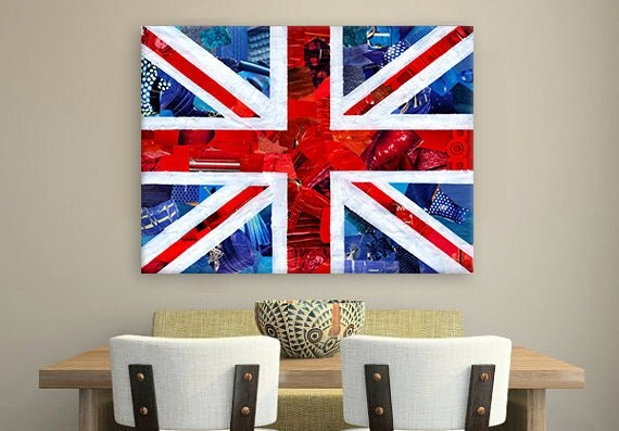 British flag, British decor, wall art, Wedding gift, Union Jack, UK flag, England art, Mixed Media collage art, apartment decor