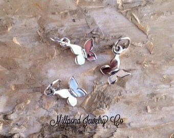 Butterfly Charm, Butterfly Pendant, Sterling Silver Butterfly Charm, Jewelry Supplies, TINY Butterfly Charm, 1 Piece, PS01120