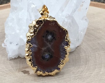 Stalactite Pendant, Druzy Pendant, Amethyst Pendant, 24 Karat Gold, Only One Piece of Each Available, PG0439