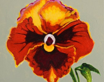 "Rusty Pansy Original Botanical Painting Acrylic on Board 4""x4"""