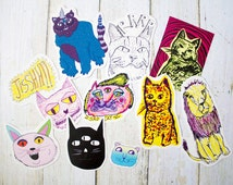 Cats Sticker Pack Part 2 / Cat lover Illustration Hand drawn Meow Funny Kitten Birthday Christmas Gift  Psychedelic