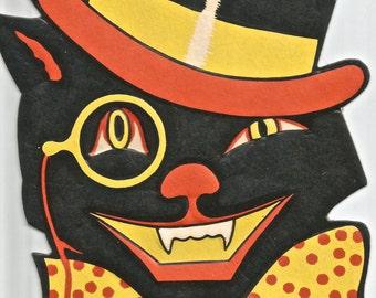 Vintage Halloween die cut black cat in hat and tie digital download printable image 300 dpi
