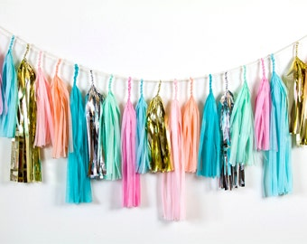 Daydream Tassel Garland, Pastel Tassel Garland, Party Tassel Garland, Pink and Blue Tassel Garland, Metallic Tassel Garland, First Birthday