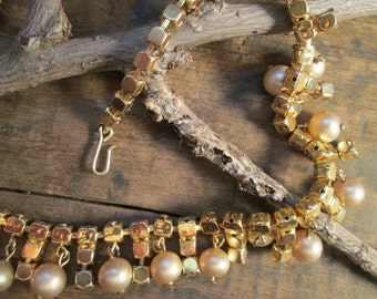 vintage gold tone pearl and clear rhinestone choker necklace