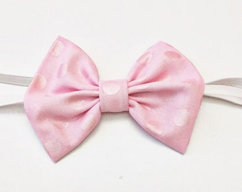 SALE: Large Pink Pearlized Dots baby bow