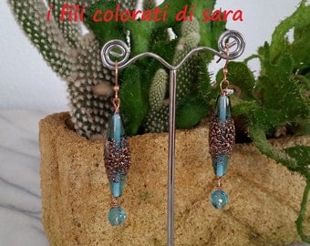 Earrings pendants with blue murrine and crystals