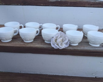Milk GlassTea Cups, Vintage Tea Cups, Set of 10 Tea Cups - Shipping Is NOt INcluDeD