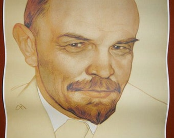 Russian Soviet Communist leader Lenin wall portray