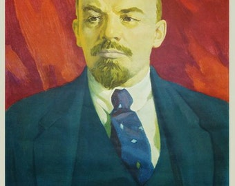 Russian Soviet Communist leader Lenin wall portray poster