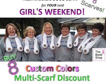 8 BOOB SCARVES - 20% off Multi Boob Scarf order. Team accessories, Breast Cancer awareness, Dirty Santa Gifts, Boys weekend, Bachelorette