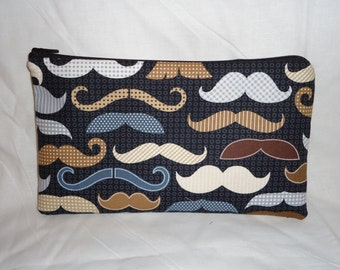 Mustache Fabric Pencil Pouch Clutch Purse