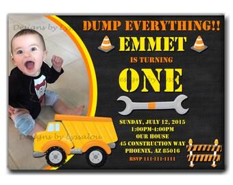 Construction Birthday Invitation, Construction Party, Construction Invitation, Boys Construction, Dump Truck, Dump Everything