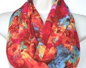 Multicolor chiffon infinity scarf, red tones chiffon infinity loop, women scarf, spring, summer, fall scarf, chiffon infinity scarf